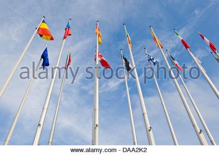 France,Alsace,Strasbourg,European Parliament building - Stock Photo
