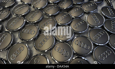 (dpa file)A file picture dated 08 March 2010 of Audi hubcaps in Ingolstadt, Germany. On 06 January 2011, German - Stock Photo