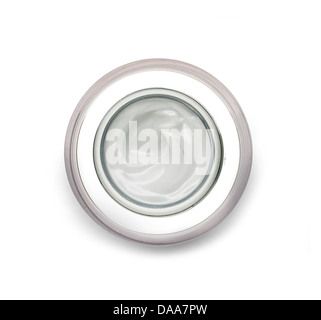 gray beauty cream cut out onto a white background - Stock Photo