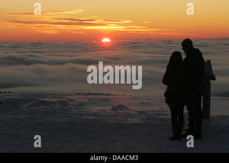 A file picture dated 5 January 2010 shows a couple afterr marriage on the summit of the Brocken, Germany. From May - Stock Photo