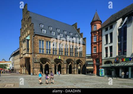 Altes Rathaus mit Laubengang am Marktplatz von Minden, Weser, Nordrhein-Westfalen - Stock Photo