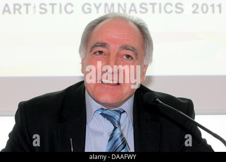 President of the European Union of Gymnastics (UEG)Georges Guelzec  delivers a press conference on European Championships - Stock Photo