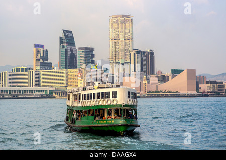 Hong Kong, China, Asia, City, Kowloon, District, Star Ferry, architecture, ferry, skyline, skyscrapers, boat - Stock Photo