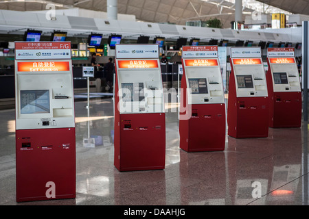Hong Kong, China, Asia, City, Hong Kong, China, Asia, International, Airport, Self Check-in, machines, airport, - Stock Photo