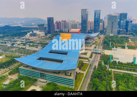 China, Shenzhen, City, Asia, Downtown, Civic Center, architecture, big, center, civic, design, downtown, huge, roof, - Stock Photo