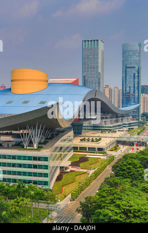 China, Shenzhen, City, Asia, Downtown, Civic Center, architecture, big, center, civic, curve, design, downtown, - Stock Photo