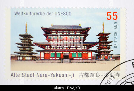 The commemorative stamp showing the Yakushi-ji Temple in Nara, Japan taken in Regensburg, Germany, 04 February 2011. - Stock Photo