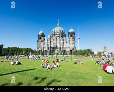 Busy Lustgarten in front of The Dom or Cathedral on Museumsinsel in Berlin Germany - Stock Photo