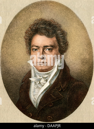 Ludwig van Beethoven in 1812. Digitally colored engraving of a drawing by Louis Latronne - Stock Photo