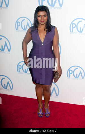 US actress Mindy Kaling arrives for the 22nd Annual Producer's Guild Awards at Hotel Beverly Hilton in Beverly Hills, - Stock Photo