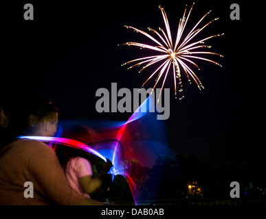 Military dependents enjoy a fireworks show June 28 during the 2013 Freedom Fest at Marrington Plantation at Joint - Stock Photo