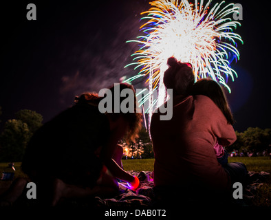 Military dependents enjoy a fireworks show June 28, during the 2013 Freedom Fest at Marrington Plantation at Joint - Stock Photo