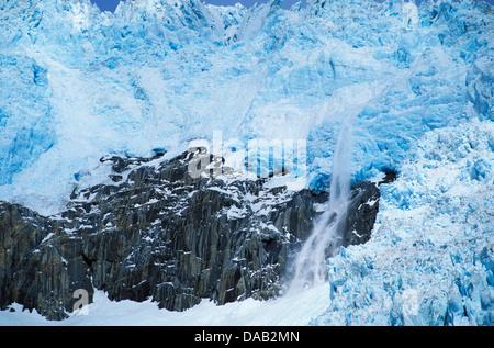 Northwestern Glacier, Kenai Fjords, National Park, Alaska, USA, glacier, ice, snow, cold, blue, crack, snowing, - Stock Photo