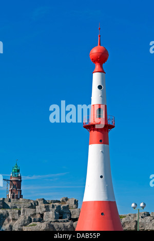 Europe, Germany, Bremen, Bremerhaven, Seebäderkaje, Bremerhaven unterfire, Bremerhaven Oberfeuer, S. Loschen lighthouse, - Stock Photo