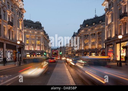 Traffic on Regents Street at night,Oxford Circus,London,England - Stock Photo