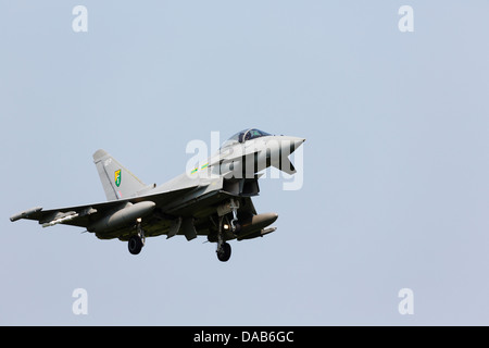 BAE Eurofighter Typhoon from RAF Coningsby No3 Squadron RAF on approach to RAF Waddington - Stock Photo