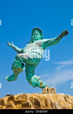 Jolly fisherman statue Skegness Tower Gardens Lincolnshire england UK GB EU Europe - Stock Photo