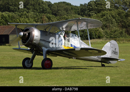 Royal Air Force Fighter Biplane Gloster Gladiator G-AMRK K7985 Taxiing at Old Warden Shuttleworth Military Pageant - Stock Photo