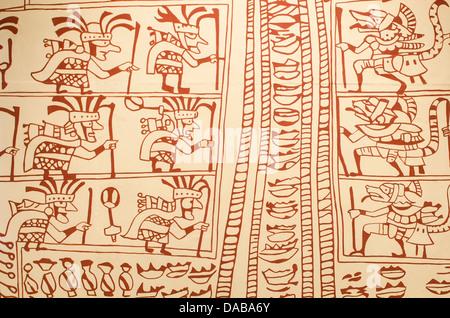 Wall art petroglyphs artifacts in Cao Museum at the El Brujo Stock ...