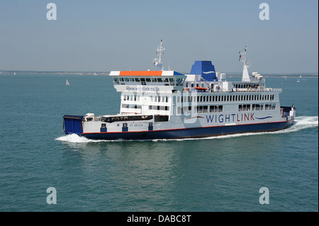 The ST CECILIA car ferry carrying coaches, people, lorries and cars across the solent to the isle of wight on a - Stock Photo