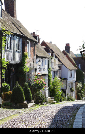 The steep and narrow picturesque cobbled Mermaid Street, in the ancient Cinque Port town of Rye, East Sussex, England, United Kingdom, UK, Britain, GB