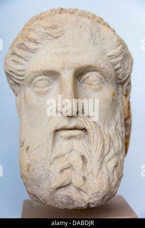 Hermes, stone carving, Delos Museum, Delos Archaeological Site, Delos, near Mykonos, Greece - Stock Photo