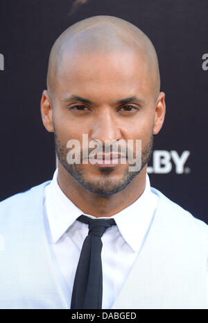 Hollywood, California, USA. 09th July, 2013. Ricky Whittle arrives at the Los Angeles film premiere for 'Pacific - Stock Photo