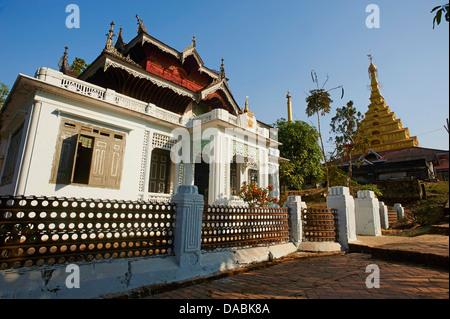 Colonial style house, Mahamuni Paya, Mawlamyine (Moulmein), Mon State, Myanmar (Burma), Asia - Stock Photo
