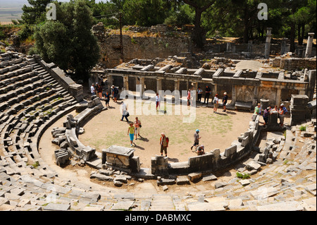 Ruins of 4th Century BC Greek theatre at Priene, Aegean Coast, Turkey - Stock Photo