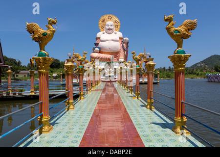 Giant Buddha image at Wat Plai Laem on the North East coast of Koh Samui, Thailand, Southeast Asia, Asia - Stock Photo