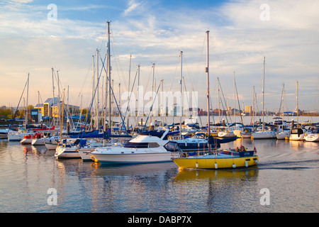 Penarth Marina, with Cardiff Bay in the distance, Wales, United Kingdom, Europe - Stock Photo