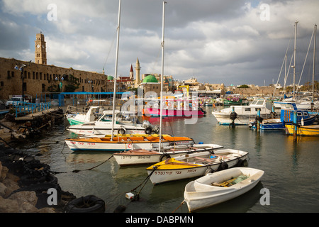 The port at the old city of Akko (Acre), UNESCO World Heritage Site, Israel, Middle East - Stock Photo