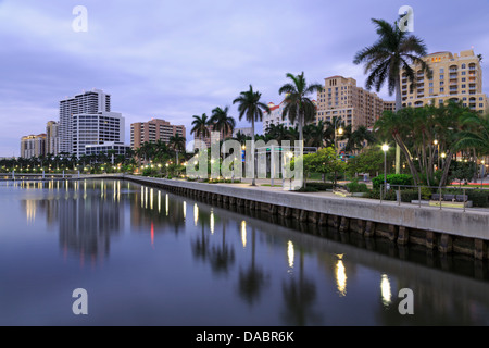 Skyline of West Palm Beach, Florida, United States of America, North America - Stock Photo
