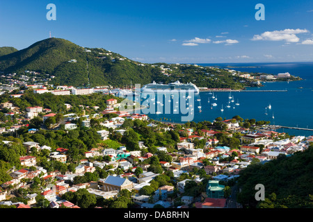 Elevated view over Charlotte Amalie, St. Thomas, U.S. Virgin Islands, Leeward Islands, West Indies, Caribbean, Central - Stock Photo