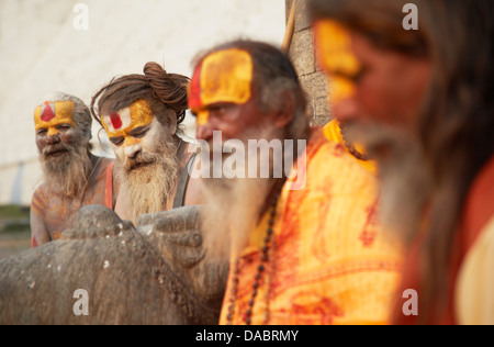 Sadhus (Holy men) at Pashupatinath Temple, Kathmandu, Nepal, Asia - Stock Photo