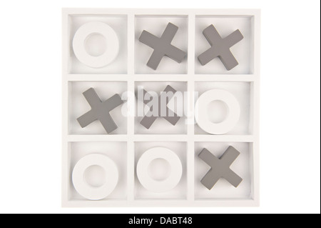 Wooden noughts and crosses game board in gray and white colors isolated in white background - Stock Photo