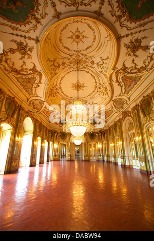 Ballroom, Palacio de Queluz, Lisbon, Portugal, Iberian Peninsula, South West Europe - Stock Photo