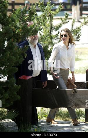 Rascafria, Spain. 10th July, 2013. Prince Felipe of Spain and Princess Letizia of Spain visit the National Park - Stock Photo