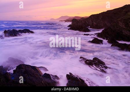 Coastline on Atlantic Drive, Achill Island, County Mayo, Connaught (Connacht), Republic of Ireland, Europe - Stock Photo