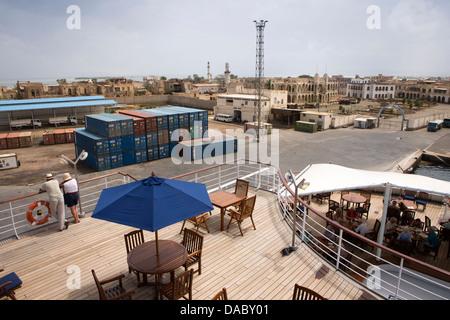 Africa, Eritrea, Massawa, Port, rear decks of MV Minerva cruise ship moored in harbour - Stock Photo