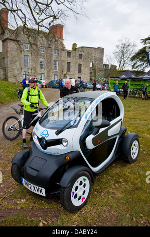Renault Twizy electric car part of the Eco Travel Network at Hay on Wye Powys Wales UK - Stock Photo