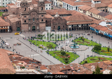 Cuzco cityscape with Plaza de Armas from hill above city, Cuzco, UNESCO World Heritage Site, Peru, South America - Stock Photo
