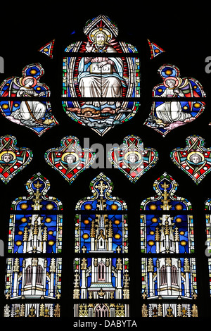God depicted in a stained glass window, Saint Salvators Cathedral, Bruges, West Flanders, Belgium, Europe - Stock Photo