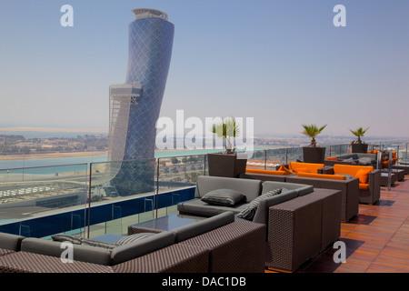 Hyatt Capital Gate Hotel near Abu Dhabi Exhibition Centre from Aloft Hotel, Abu Dhabi, United Arab Emirates, Middle - Stock Photo