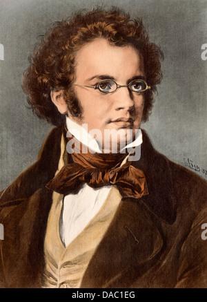Portrait of composer Franz Schubert. Digitally colored illustration - Stock Photo