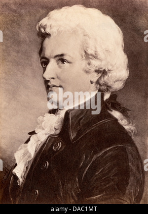 Portrait of Wolfgang Amadeus Mozart. Photograph of a painting - Stock Photo