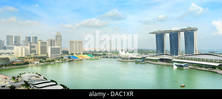 Singapore skyline with Marina Bay Hotel in the right - Stock Photo