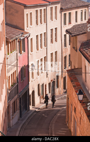 People walking through the old part of the city of Lyon, Lyon, Rhone-Alpes, France, Europe - Stock Photo
