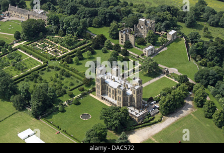aerial view of Hardwick Hall, the Elizabethan masterpiece mansion near Chesterfield in Derbyshire - Stock Photo