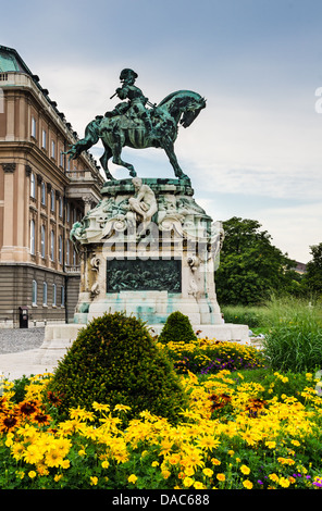 Equestrian statue of Eugene of Savoy at Buda Castle, Budapest. The prince win the turks in Battle of Zenta, freedom - Stock Photo